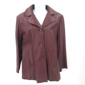 Wilsons Maxima Brick Red Button Up Leather Jacket